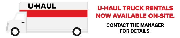 U-Haul truck rentals available on-site at Farrell Storage in Lakeville, MA