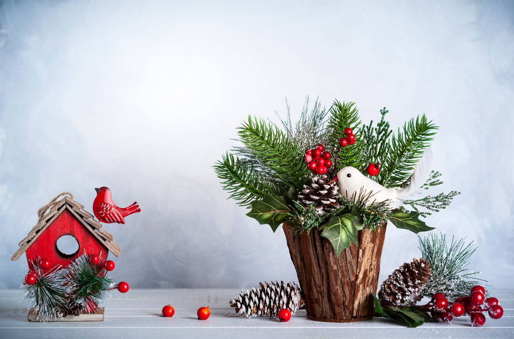 Christmas decorations against a white backdrop