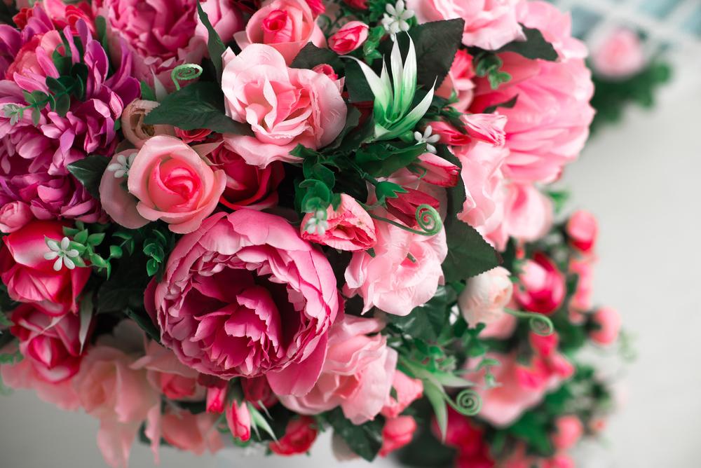Fake pink flower arrangement
