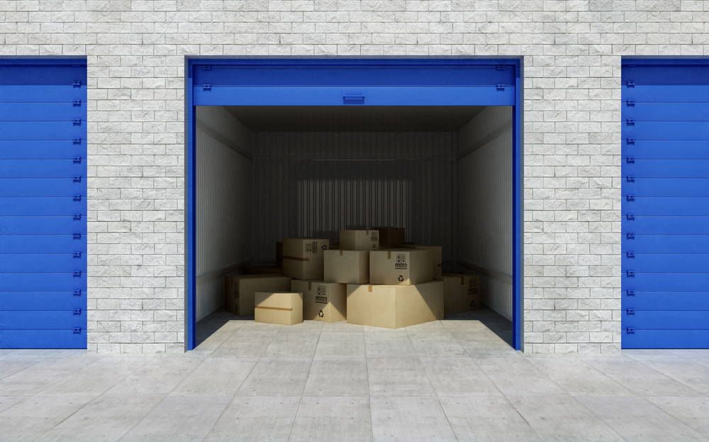 Open storage unit with boxes inside