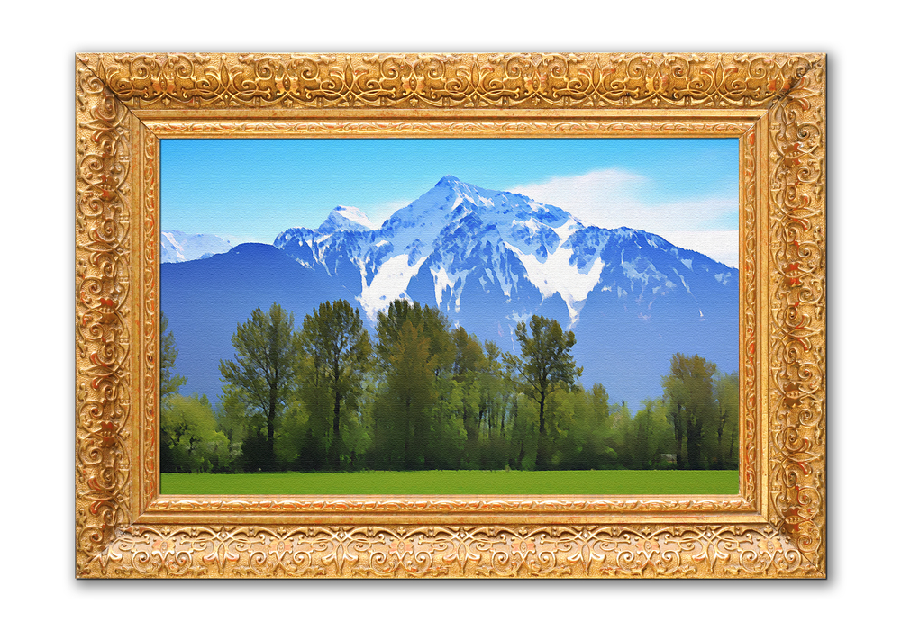 Painting of the Rocky mountains in an antique frame