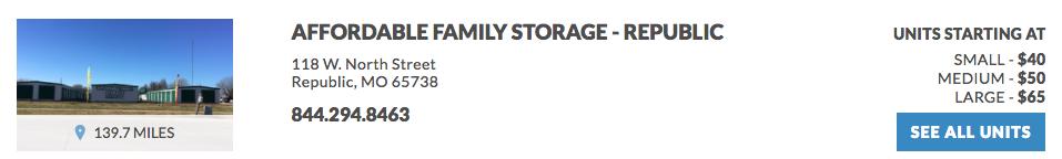 Affordable Family Storage - Republic 118 W. North Street Republic, MO 65738