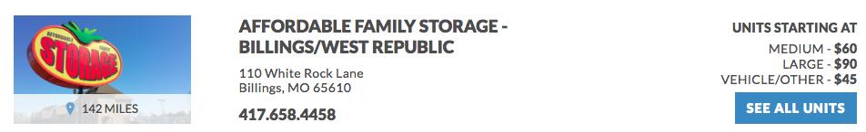 Affordable Family Storage 110 White Rock Lane Billings, MO 65610