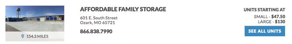 Affordable Family Storage 601 E. South Street Ozark, MO 65721