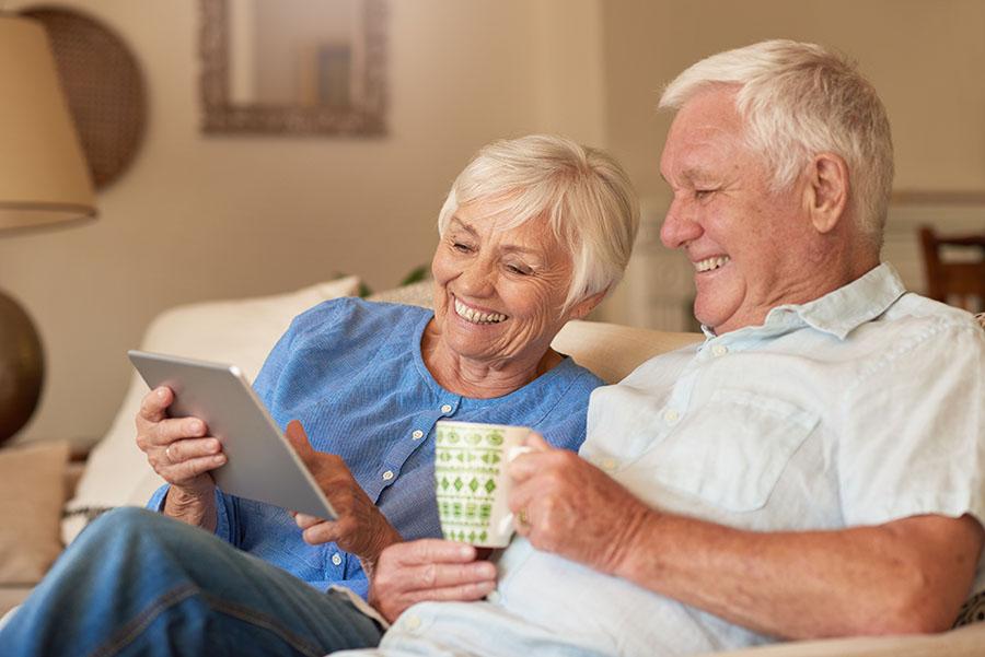 Seniors renting a self-storage unit