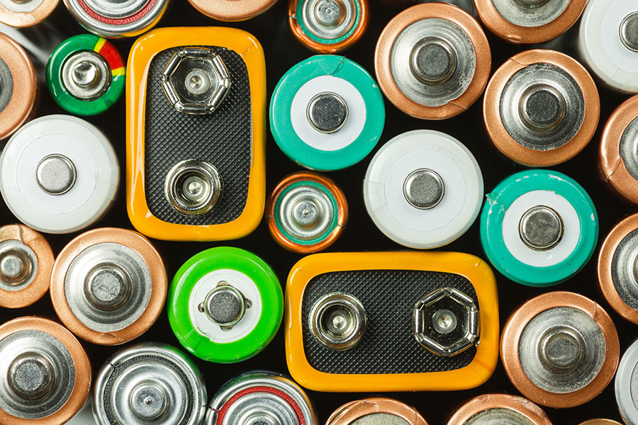 Variety of batteries before being placed in storage unit.