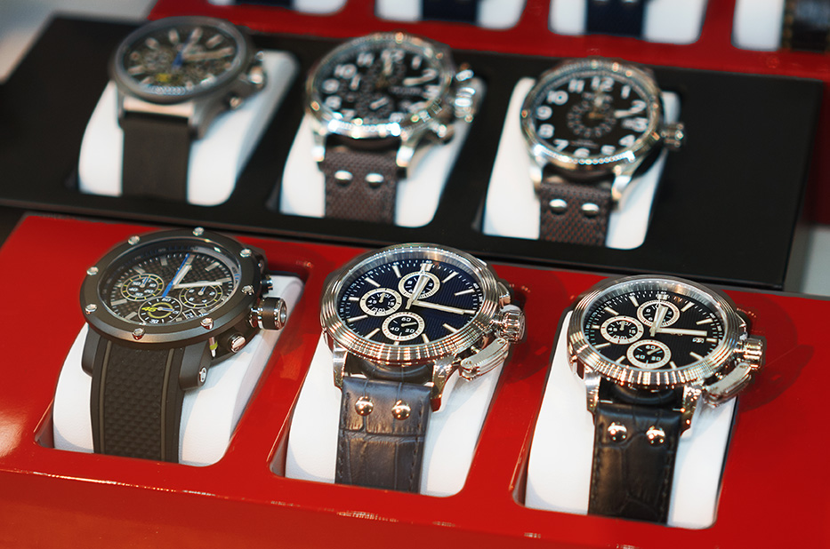 Collection of modern watches