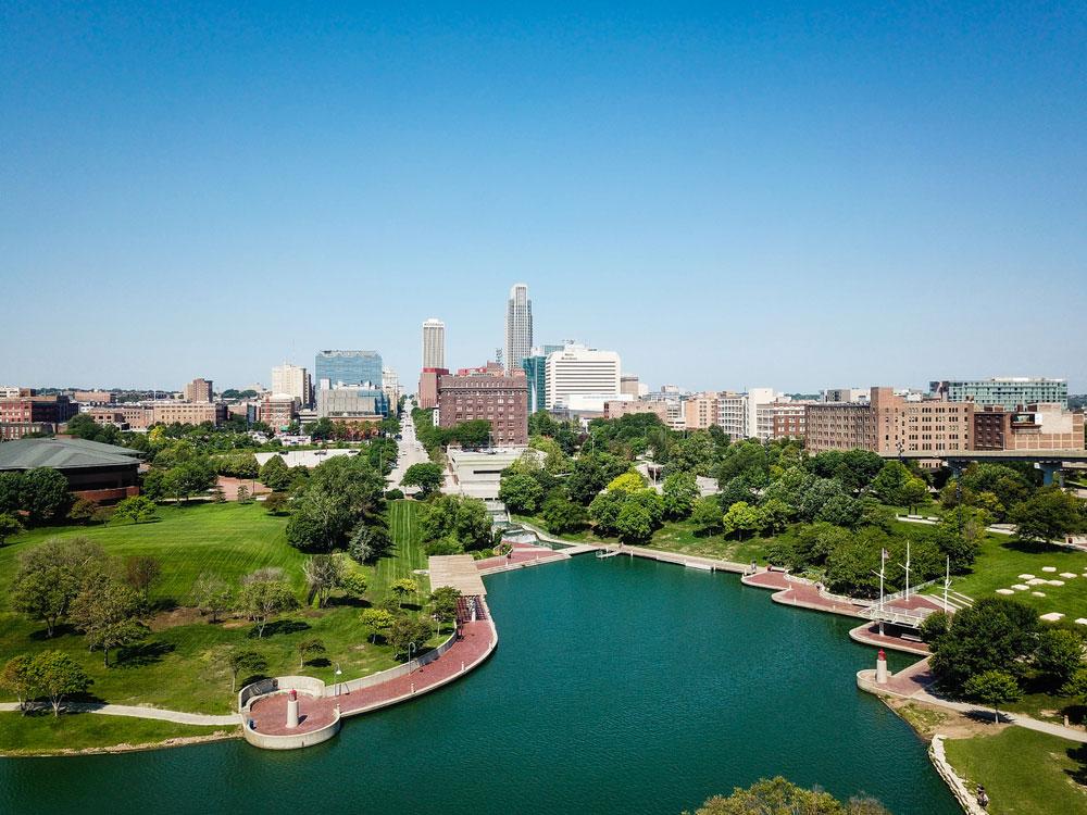 Aerial photography downtown Omaha skyline