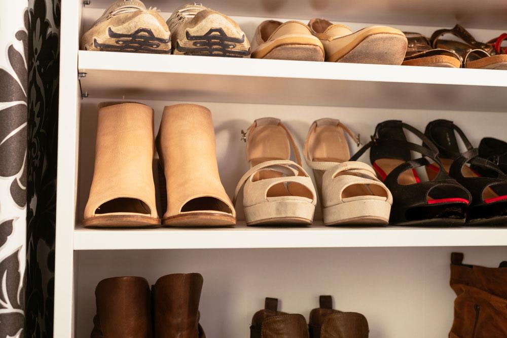 Organized wardrobe of shoe storage