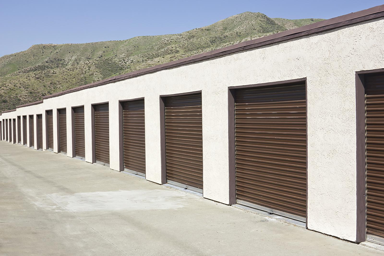 row of personal storage units at a self-storage facility
