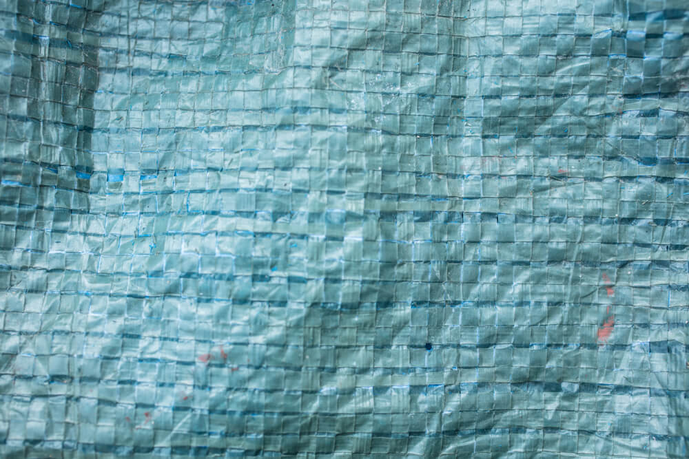 Patch of blue tarp