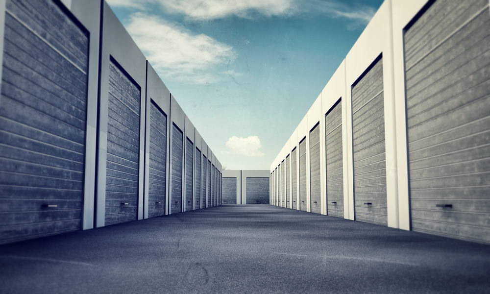 row view grey storage unit doors shut