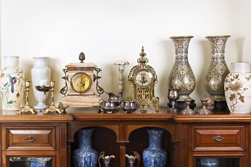 Antiques on display in a storage unit