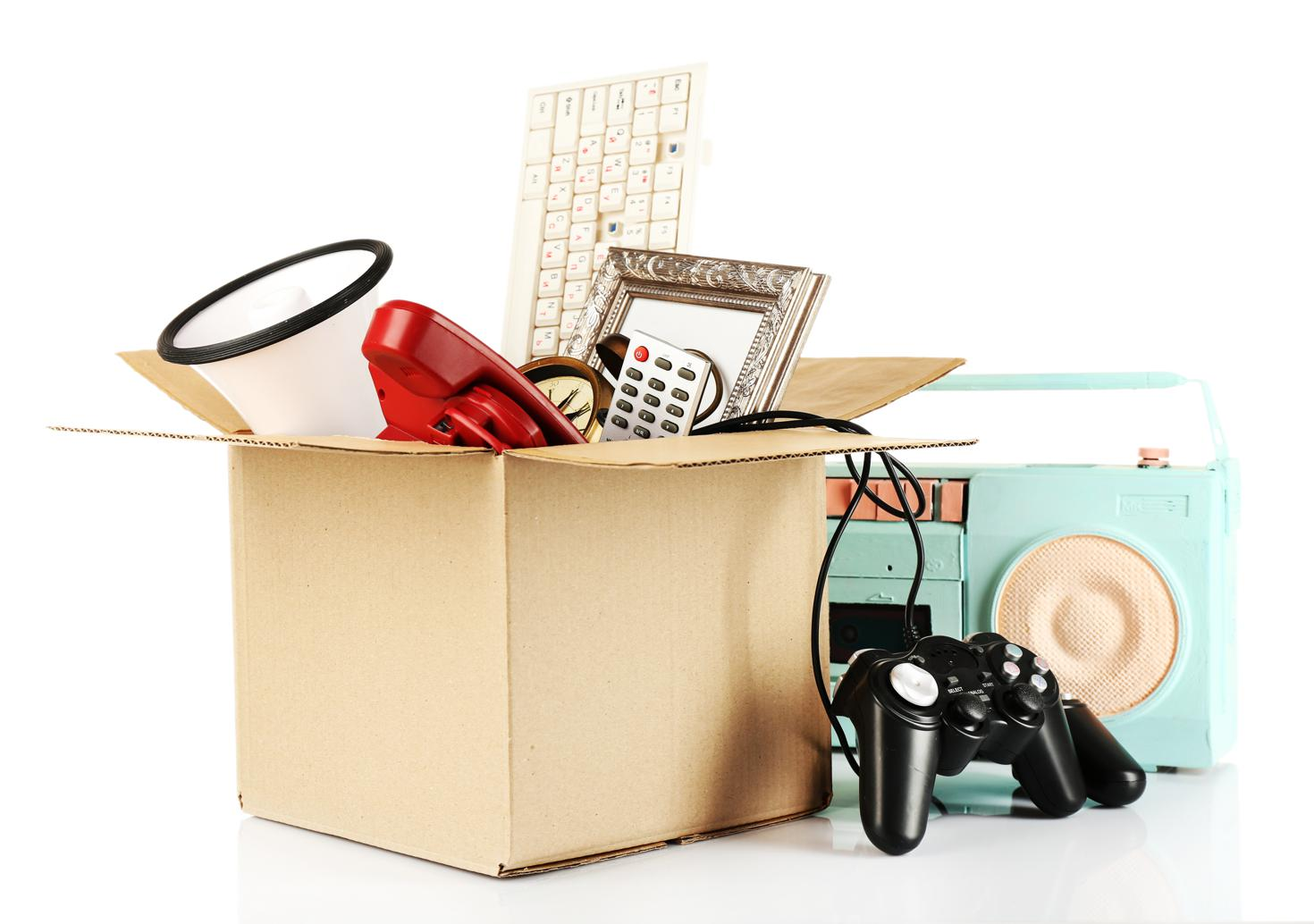 box of items commonly found in storage units