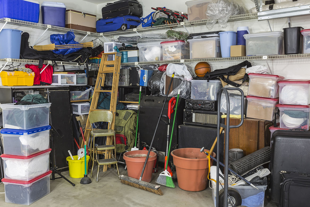 Storage unit in need of decluttering