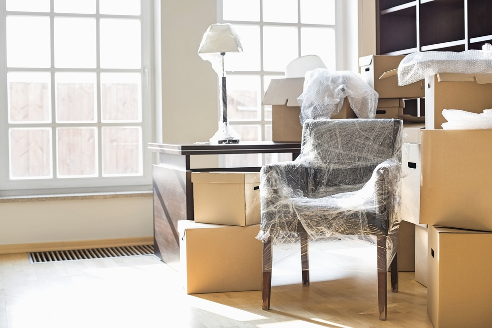 Wrapped furniture and boxes