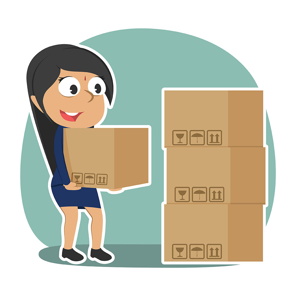 Cartoon of woman moving boxes to self storage