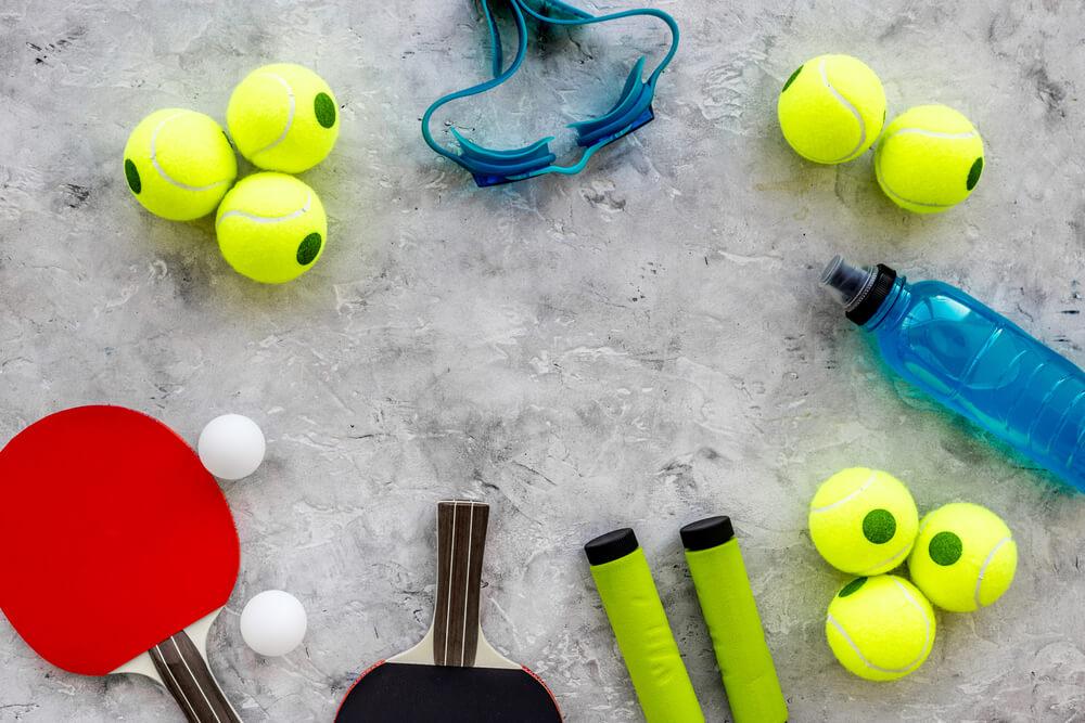 Sports gear on the floor