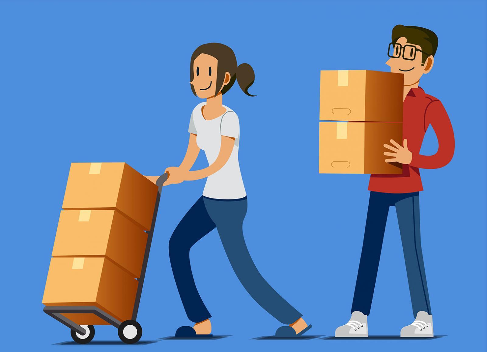 Cartoon couple moving boxes to storage unit