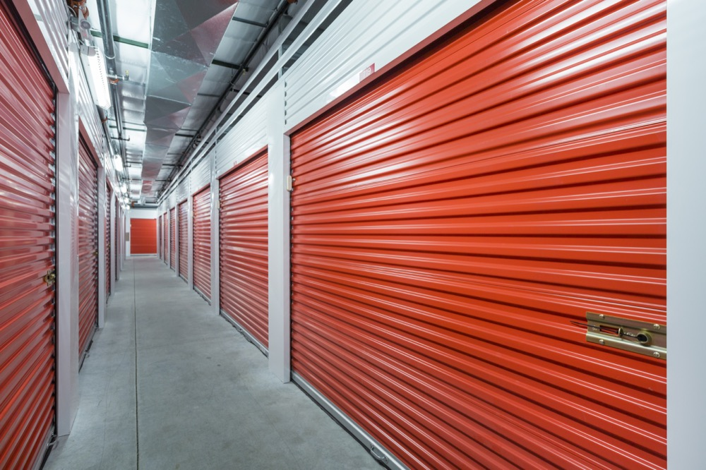 row of storage units in an indoor facility
