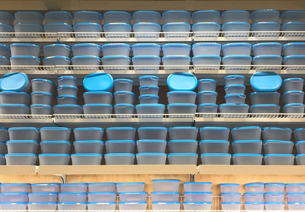 Shelves full of aesthetically pleasing plastic containers