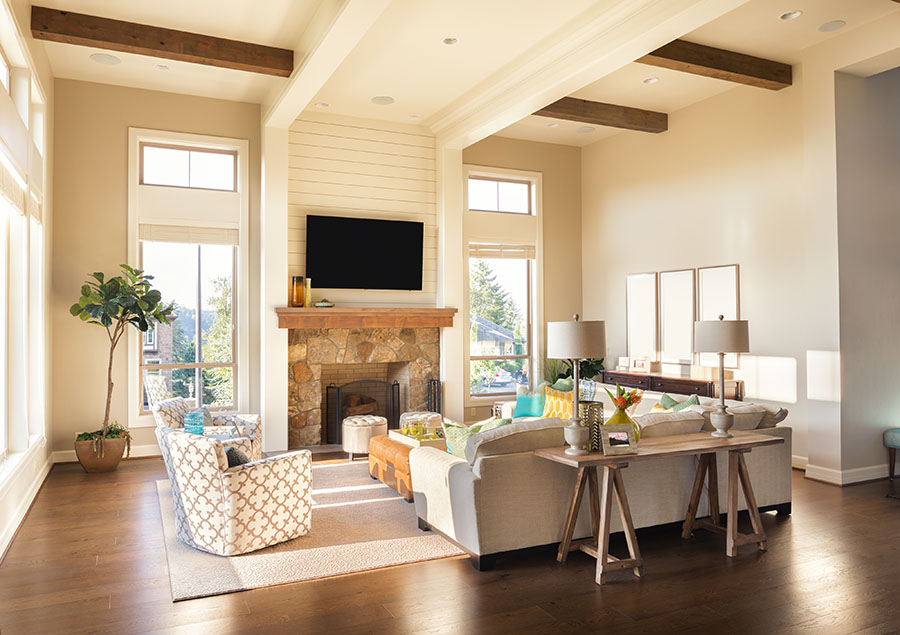 staged living room, bright and inviting