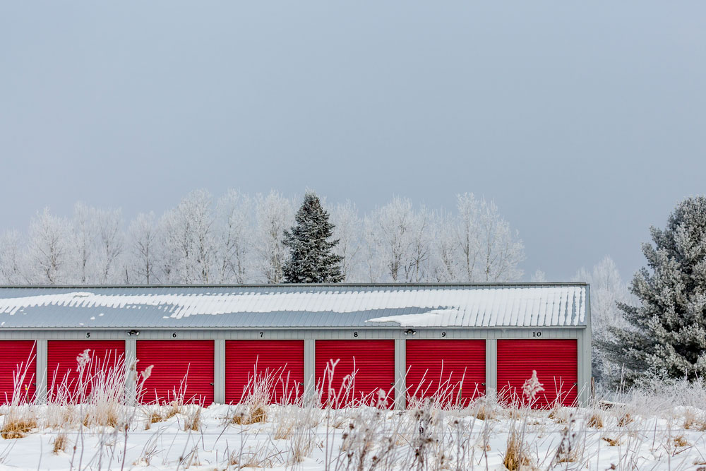 Picture of storage units in the snow