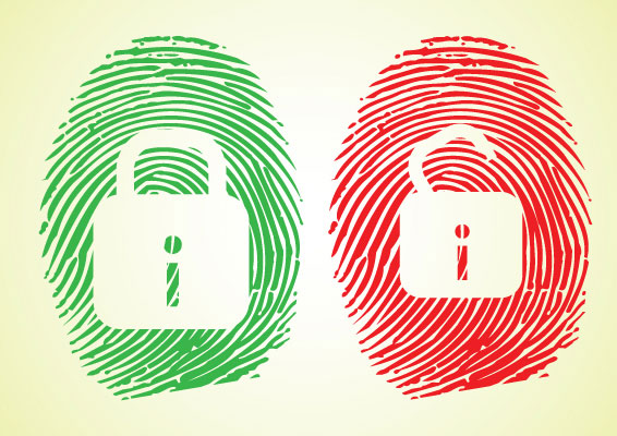 two fingerprints to represent an open padlock and a locked padlock