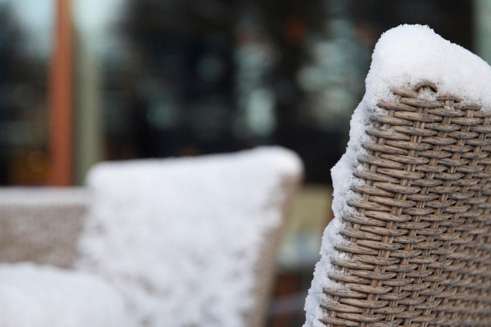 Wicker furniture in snow