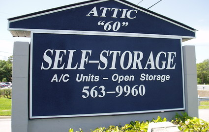 Sign out front of the self storage facility