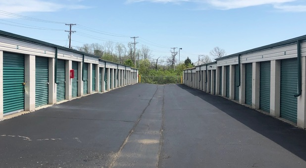 Very wide driveways for Trucks and Vehicles to easily access storage units.