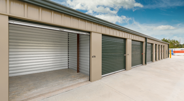 outside self storage unit with door open