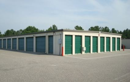 Outdoor view of storage units.