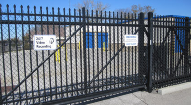 Self storage location with security fencing