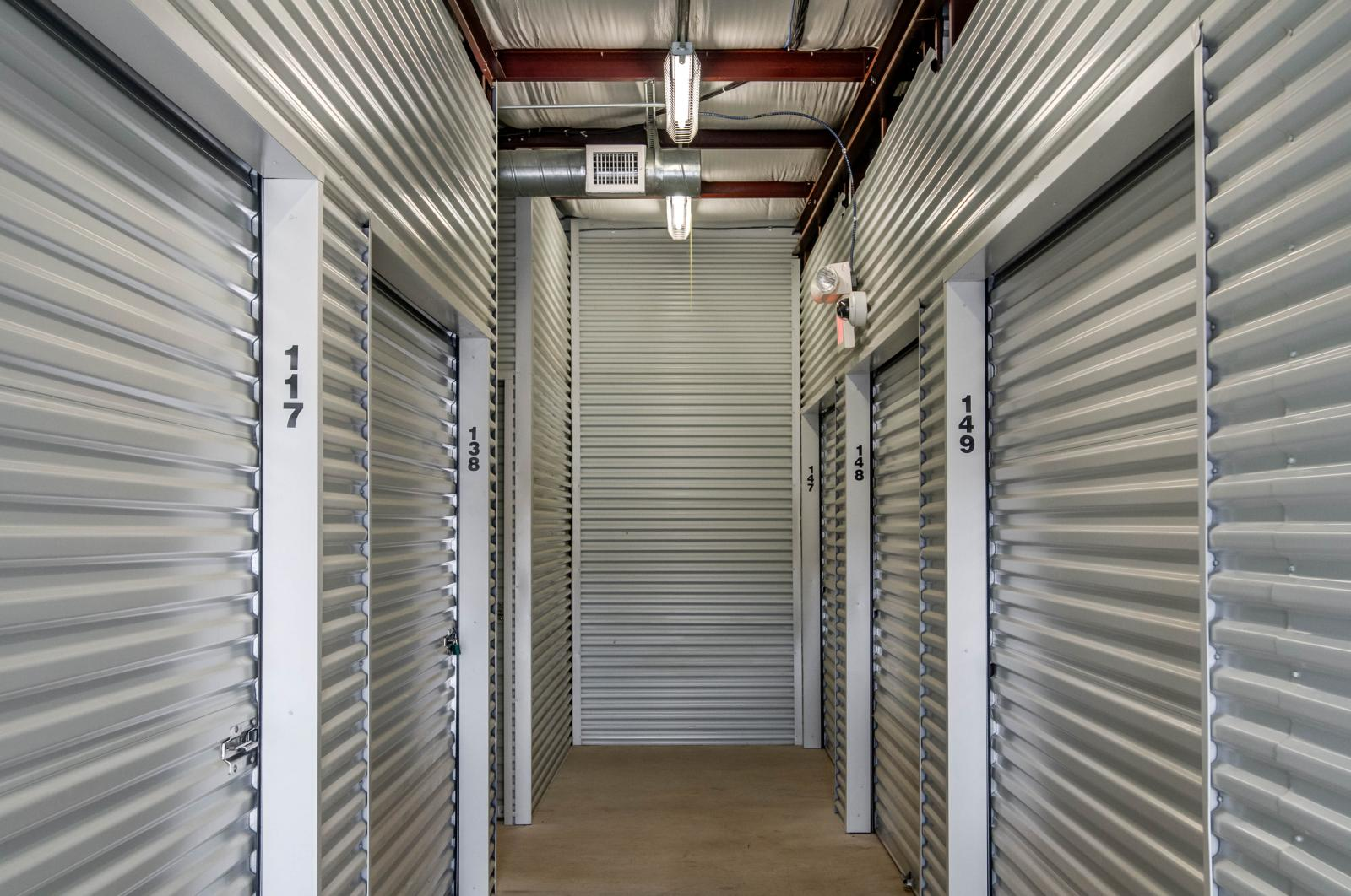 A common view from the inside of a self storage building.