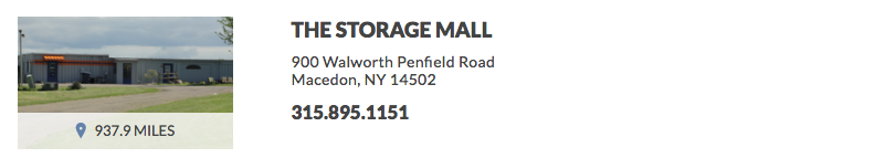 THE STORAGE MALL 900 Walworth Penfield Road Macedon, NY 14502