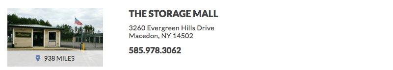 THE STORAGE MALL 3260 Evergreen Hills Drive Macedon, NY 14502