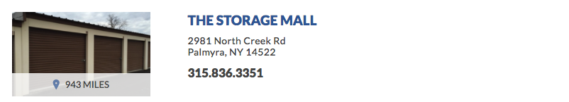 THE STORAGE MALL 2981 North Creek Rd Palmyra, NY 14522
