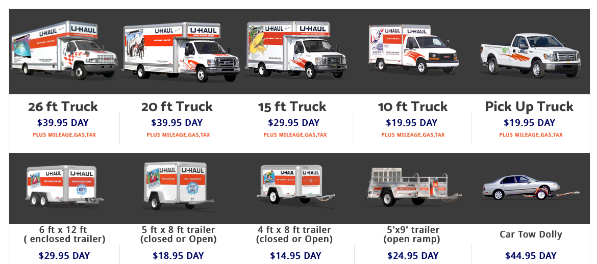 U Haul Trailer Sizes >> U Haul Rentals Rita Ranch Rv Self Storage