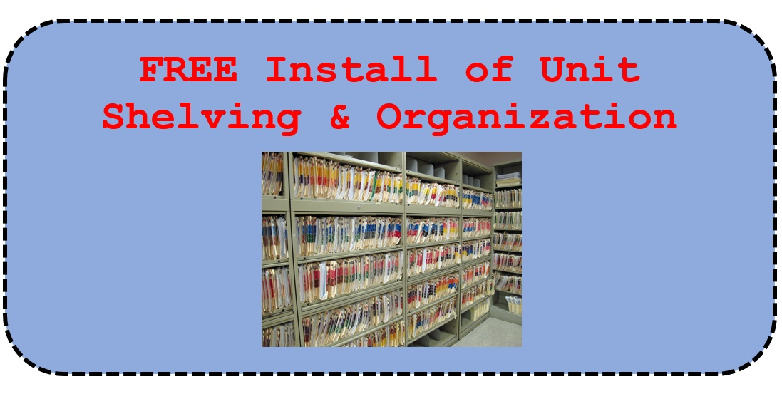 free install of unit shelving and organization