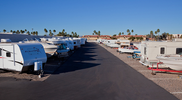 RV, Cars And Boats Parked At Bell Road Storage Solutions in Peoria, AZ
