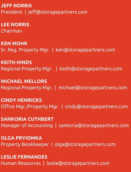 Storage Partners Contact Information