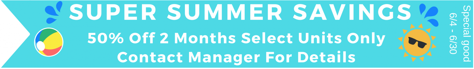 50% off 2 months on select units only - contact manager for details