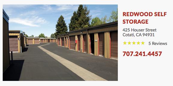 REDWOOD SELF STORAGE 425 Houser Street Cotati, CA 94931