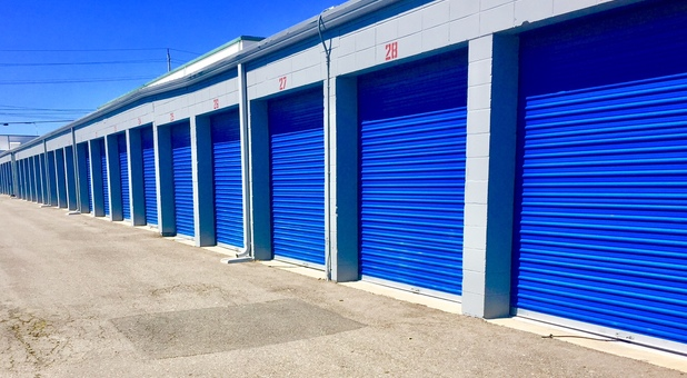Blue Self Storage Unit Doors At RV Storage Depot