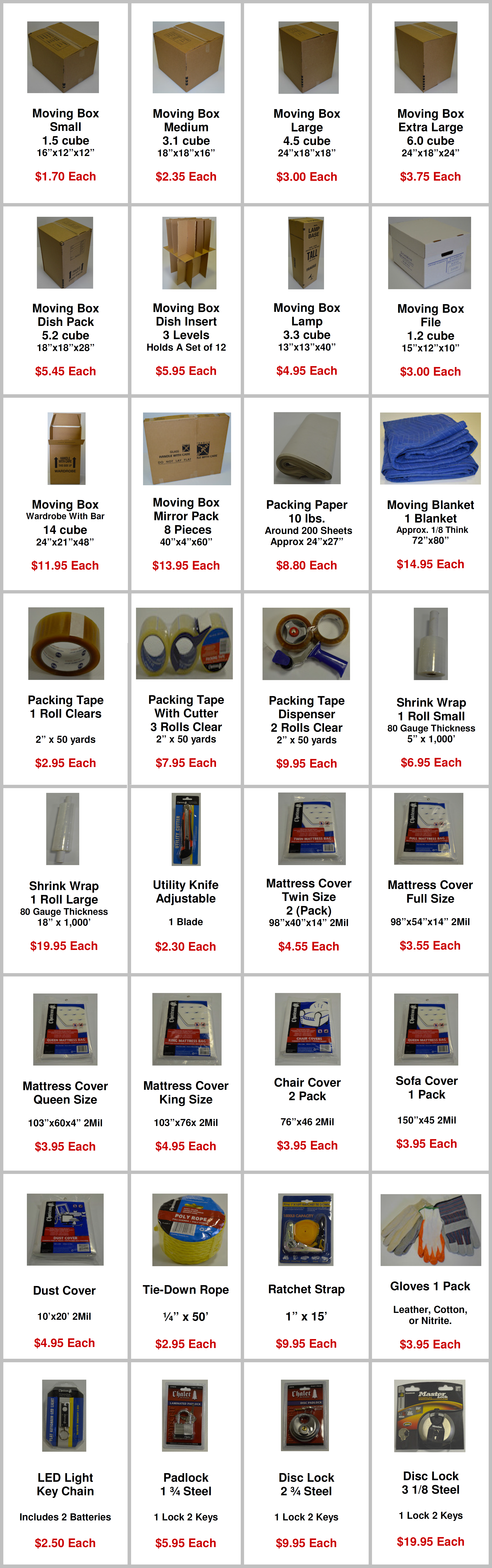 packing material list and pricing