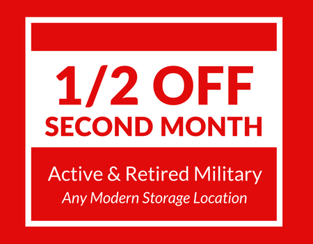 """Banner stating """"1/2 off second month for active and retired military."""""""