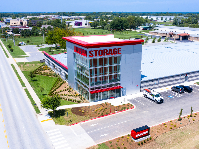 Aerial photo of Modern Storage Bentonville at 700 SW 14th Street in Bentonville, Arkansas. Are you looking for a safe, secure storage unit? Discover why Modern Storage is exactly what you need!
