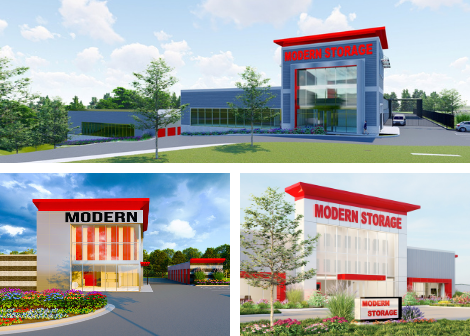 Photo of renderings for three new Modern Storage locations under construction in Central Arkansas.