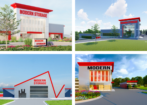 Photo of renderings for four new Modern Storage locations under construction in Central Arkansas.